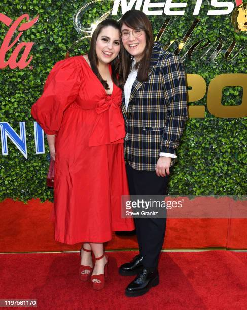Beanie Feldstein and Bonnie Chance Roberts arrives at the 7th Annual Gold Meets Golden at Virginia Robinson Gardens and Estate on January 04, 2020 in...