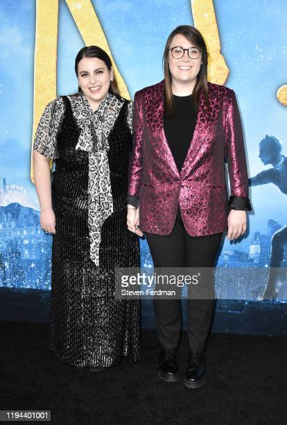 """Beanie Feldstein and Bonnie Chance Roberts attend the world premiere of """"Cats"""" at Alice Tully Hall, Lincoln Center on December 16, 2019 in New York..."""