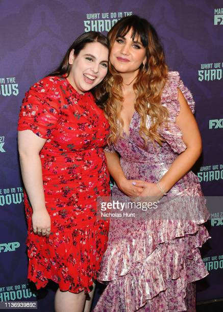 Beanie Feldstein and Natasia Demetriou attend the 'What We Do In The Shadows' New York Premiere at Metrograph on March 19 2019 in New York City