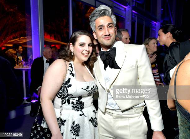 Beanie Feldstein and Tan France attend the 2020 Vanity Fair Oscar Party hosted by Radhika Jones at Wallis Annenberg Center for the Performing Arts on...