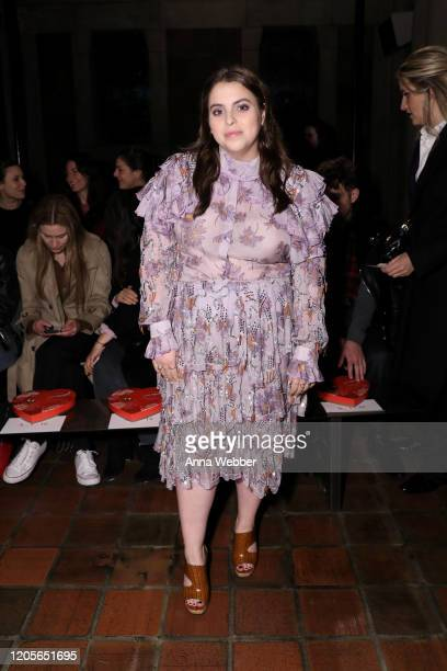 Beanie Feldstein at the front row of Rodarte fashion show during New York Fashion Week at St. Bartholomew's Church on February 11, 2020 in New York...