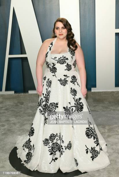Beanie Feldstein attends the 2020 Vanity Fair Oscar Party following the 92nd annual Oscars at The Wallis Annenberg Center for the Performing Arts in...