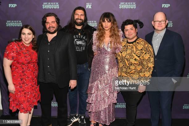 "Beanie Feldstein, Matt Berry, Kayvan Novak, Natasia Demetriou, Harvey Guillén and Mark Proksch attend the ""What We Do In The Shadows"" New York..."