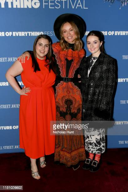 Beanie Feldstein Olivia Wilde and Kaitlyn Dever attend The Wall Street Journal's The Future of Everything Festival at Spring Studios on May 22 2019...