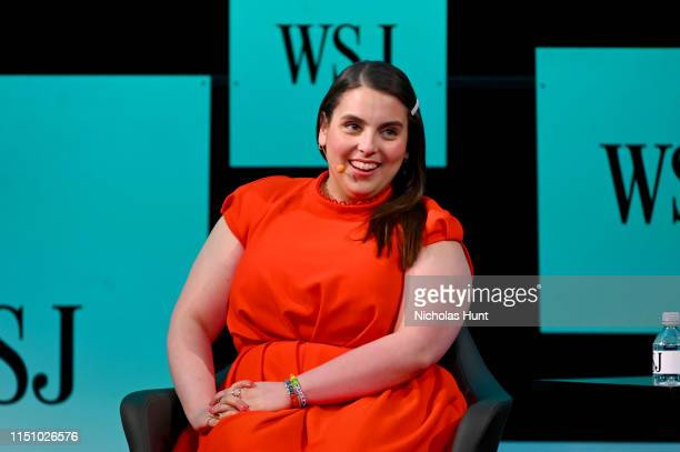"""Beanie Feldstein speaks onstage at The Wall Street Journal's """"The Future of Everything Festival"""" at Spring Studios on May 22, 2019 in New York City."""