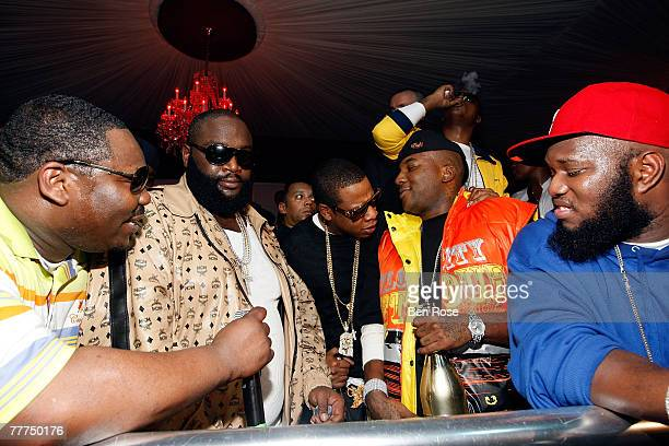 Beanie Segal Rick Ross JayZ Young Jeezy and Freeway attend a party hosted by JayZ at the Velvet Room November 4 2007 in Atlanta Georgia