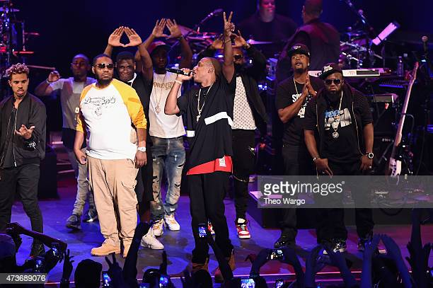 Beanie Siegel Jay Electronica Neef Buck Young Chris Memphis Bleek and Freeway appear onstage during TIDAL X JayZ Bsides in NYC on May 16 2015 in New...