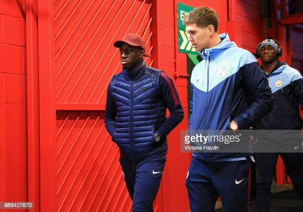 Beanjaminn Mendy and John Stones of Manchester City arrive for the Premier League match between Manchester United and Manchester City at Old Trafford...