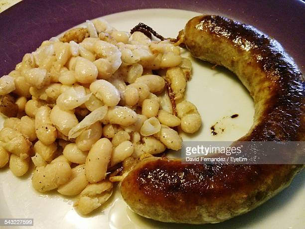 Beans And Sausage On Plate