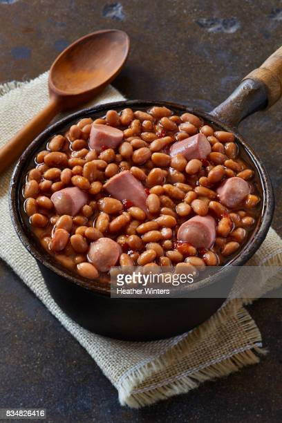Beans and Weenies in Cast Iron Pot