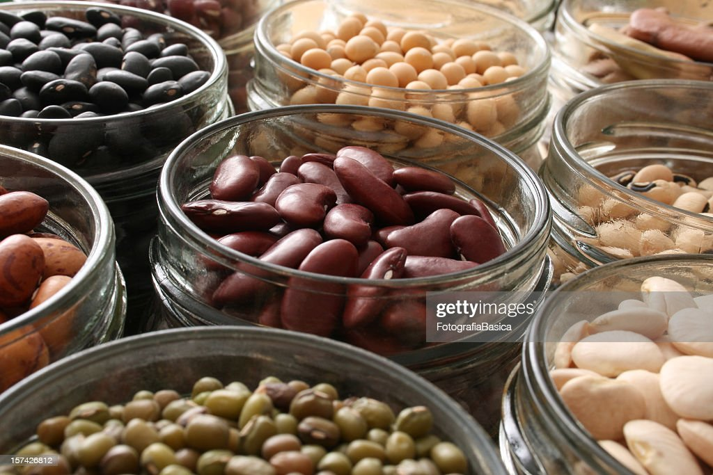 Beans in jars : Stock Photo