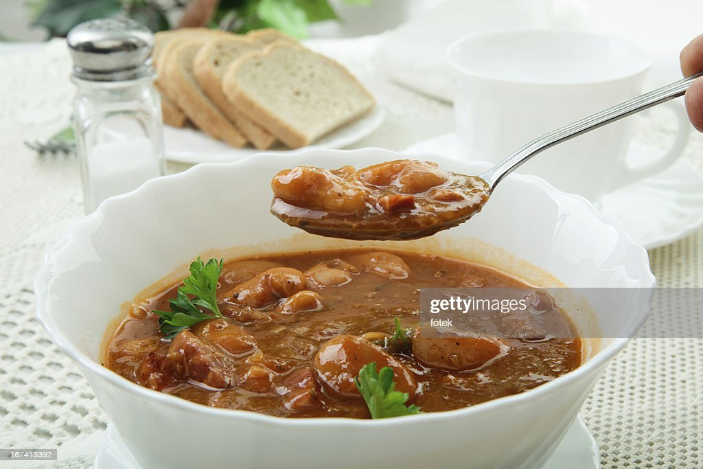 豆のトマトソースがけ : ストックフォト