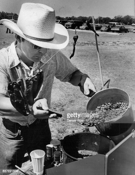 Beans were the main ingredients in the chili 1st Lt Dave Knieriem cooked up in the base's initial cookoff last week Credit Denver Post Inc