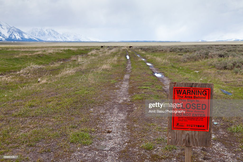 Bear activity notice at Grand Teton : Stock Photo
