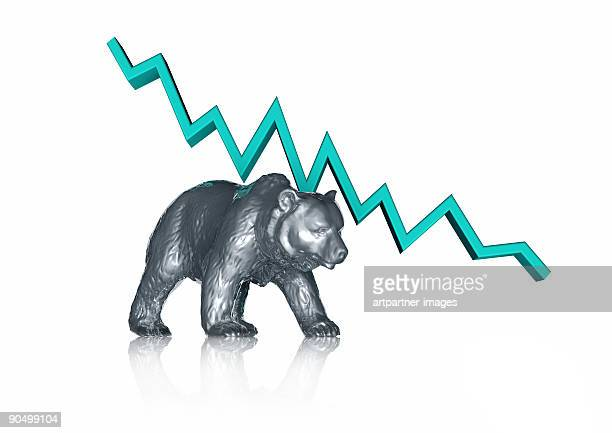 bear and falling stock chart - bear market stock pictures, royalty-free photos & images