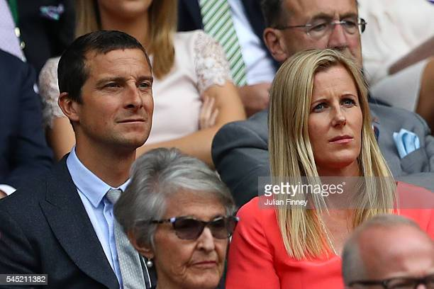 Bear and Shara Grylls watch on from the Royal Box on day nine of the Wimbledon Lawn Tennis Championships at the All England Lawn Tennis and Croquet...