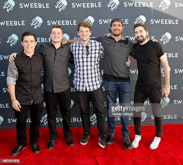 Bear Barnes Matt Schettler Mike Valus Avi Dixit and Jason Zuccari attend the Sweeble and Arsenic Magazine party on July 11 2015 in Studio City...