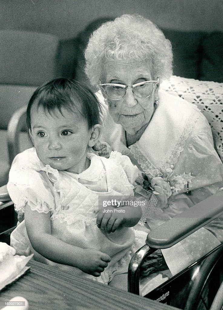 9/20/1987, SEP 21 1987; Bear Creek Nursing Home; Ethel Lang, 107 years old celebrating her birthday  : News Photo