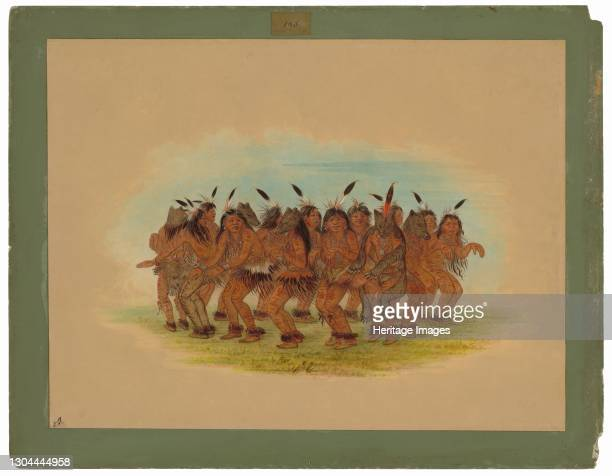 Bear Dance - K'nisteneux, 1861. For the safety and success of hunters who pursue the Grizzly Bear. Artist George Catlin.