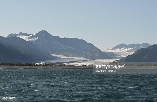 Bear Glacier is seen in the Kenai Fjords National Park on September 1 2015 in Seward Alaska Bear Glacier is the largest glacier in Kenai Fjords...