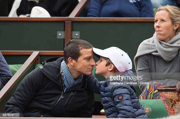 Bear Grylls and his son and wife Shara Grylls attend day thirteen at Roland Garros on June 3 2016 in Paris France