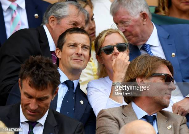 Bear Grylls and his wife Shara Grylls attend the Royal Box during Day eleven of The Championships Wimbledon 2019 at All England Lawn Tennis and...