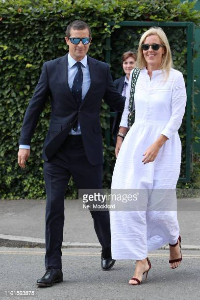 Bear Grylls and Shara Grylls attend day 11 the Mens semifinals at the Wimbledon 2019 Tennis Championships at All England Lawn Tennis and Croquet Club...