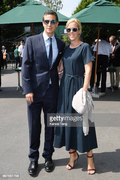 Bear Grylls and Shara Grylls attend day eleven of the Wimbledon Tennis Championships at the All England Lawn Tennis and Croquet Club on July 13 2018...