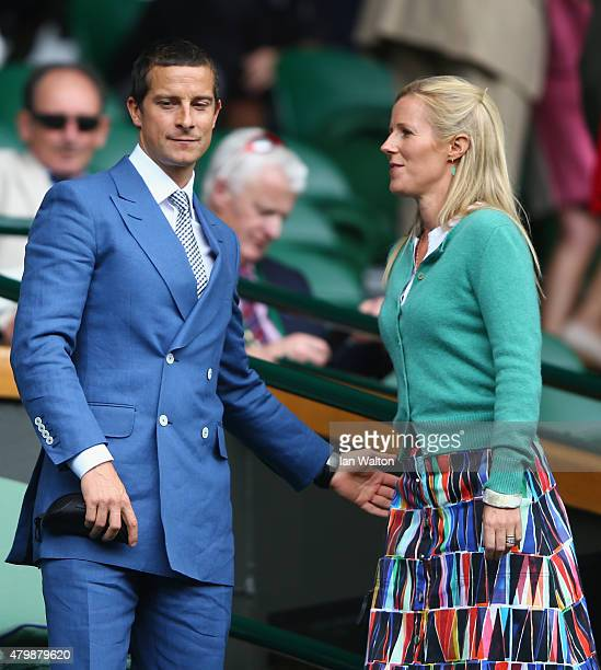 Bear Grylls and Shara Grylls attend day nine of the Wimbledon Lawn Tennis Championships at the All England Lawn Tennis and Croquet Club on July 8...