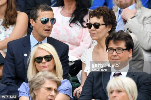 Bear Grylls and Shara Grylls Kitty McIntyre and Michael McIntyre attend day eleven of the Wimbledon Tennis Championships at the All England Lawn...