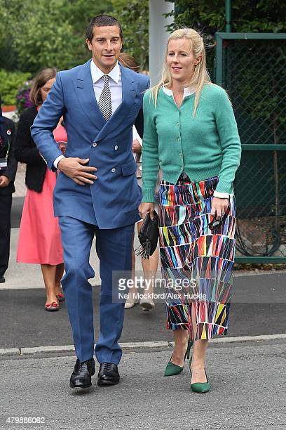 Bear Grylls and Shara Grylls seen arriving at Wimbledon on July 8 2015 in London England