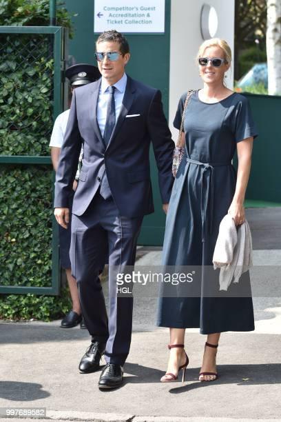 Bear Grylls and Shara Grylls seen outside Wimbledon AELTC on July 13 2018 in London England