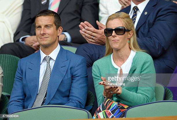 Bear Grylls and wife Shara Grylls attend day nine of the Wimbledon Tennis Championships at Wimbledon on July 8 2015 in London England