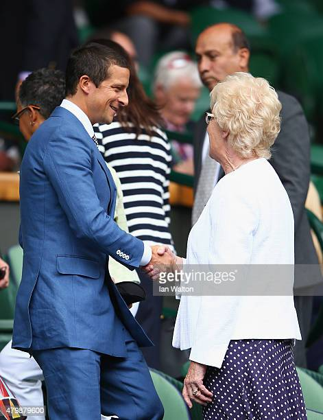 Bear Grylls attends day nine of the Wimbledon Lawn Tennis Championships at the All England Lawn Tennis and Croquet Club on July 8 2015 in London...