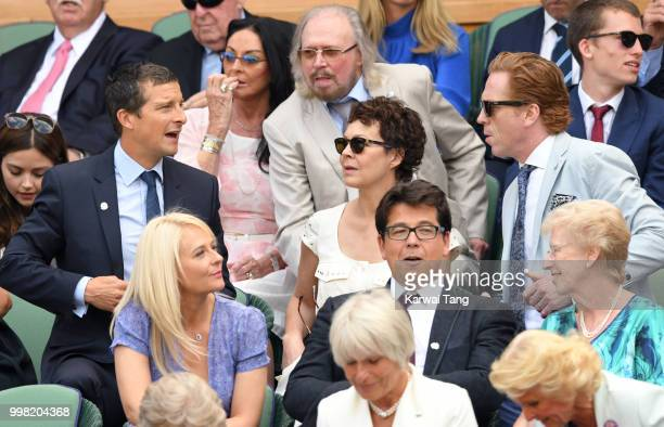 Bear Grylls Helen McCrory Damian Lewis Kitty McIntyre and Michael McIntyre attend day eleven of the Wimbledon Tennis Championships at the All England...