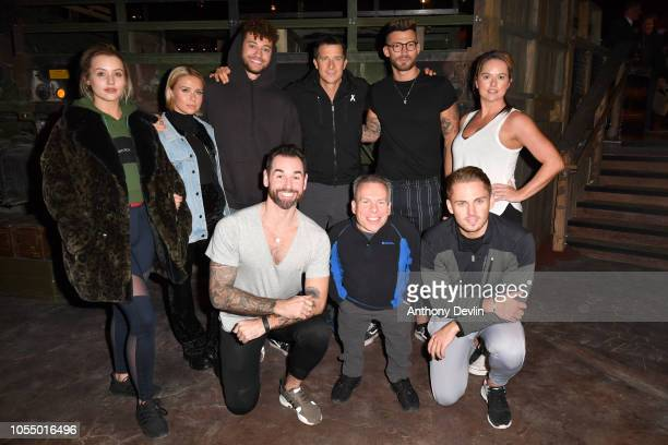 Bear Grylls poses with celebrity guests Tina Strinnes Gabby Allen Myles Stephenson Ben Jardine Warwick Davis Jake Quickenden Charlie Brake and Karen...