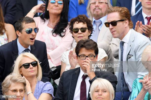 Bear Grylls Shara Grylls Damian Lewis Kitty McIntyre and Michael McIntyre attend day eleven of the Wimbledon Tennis Championships at the All England...