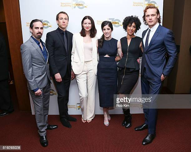 Bear McCreary Tobias Menzies Caitriona Balfe Maril Davis Raya Yarbrough and Sam Heughan attend the 'Outlander' event presented by Television Academy...