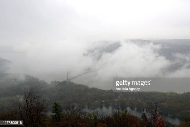 Bear Mountain bridge is seen during a foggy day in New York United States on October 21 2019