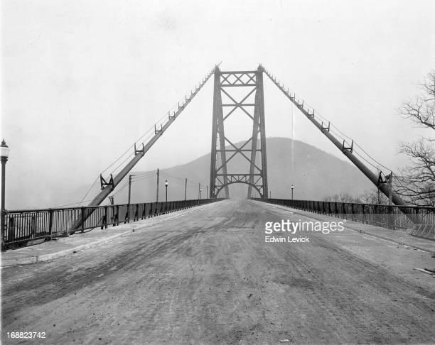 Bear Mountain Bridge under construction in New York circa 1924