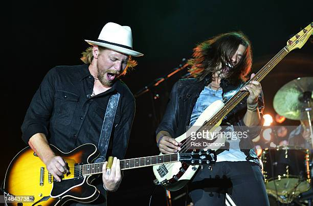 Bear Rinehart and Seth Bolt of NEEDTOBREATHE performs at the 2012 BamaJam Music and Arts Festival Day 2 on BamaJam Farms in Enterprise Alabama on...