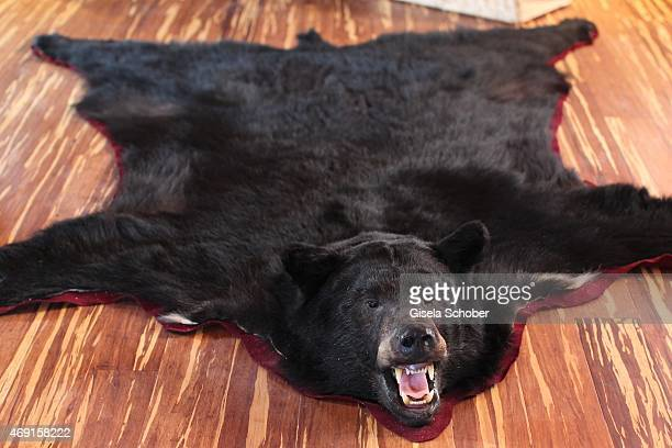 A bear skin rug is seen in the house of Carmen and Robert Geiss and their family during a photo shooting on December 13 2014 in Valberg France