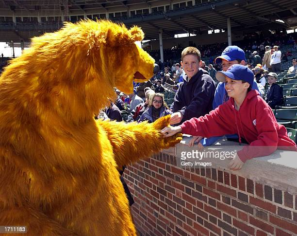 Bear the star of Jim Henson's Bear in the Big Blue House greets fans before the start of a Chicago Cubs game against the Los Angeles Dodgers at...