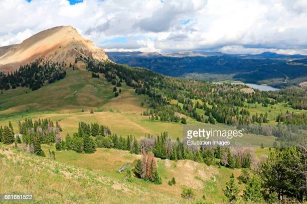 Bear tooth Butte overlooking mountain meadows and Bear tooth Lake in the Shoshone National Forest of northern Wyoming Bear tooth Butte is a prominent...