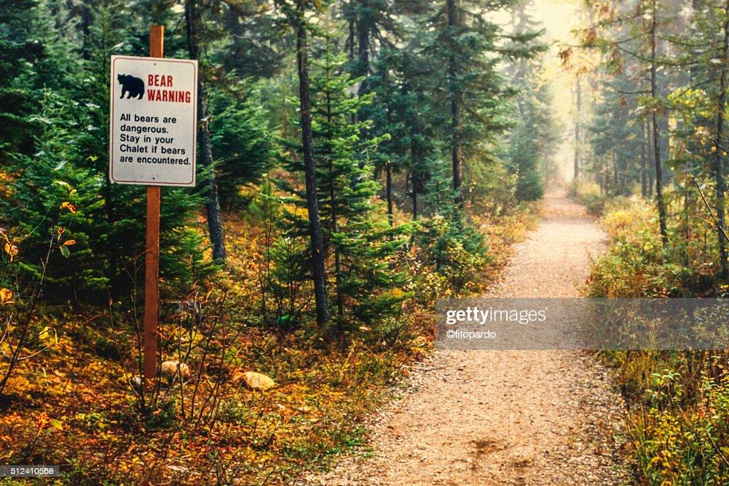 bear warning at Cariboo mountains : Stock Photo