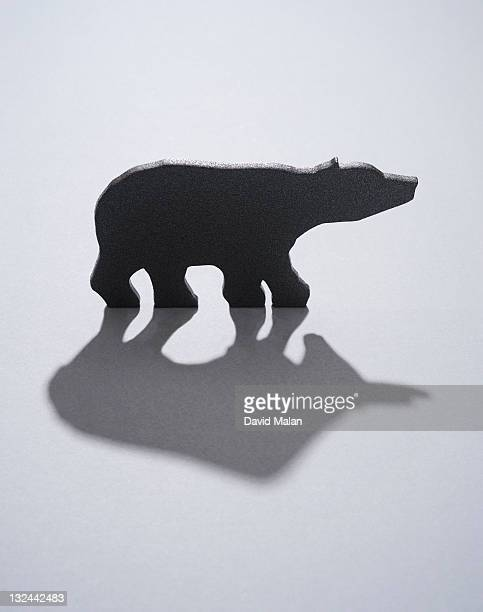 bear with a bull shaped shadow. - bear market stock pictures, royalty-free photos & images
