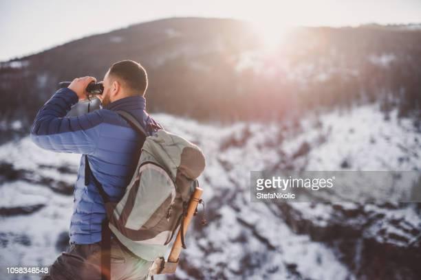 Beard man hiking