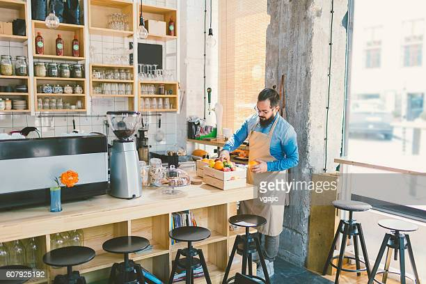 Beard Man Working In His Cafe