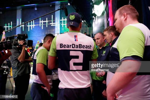 BearDaBeast of TWolves Gaming is seen in a huddle during Game Four of the NBA 2K League Finals on August 3 2019 at the NBA 2K Studio in Long Island...