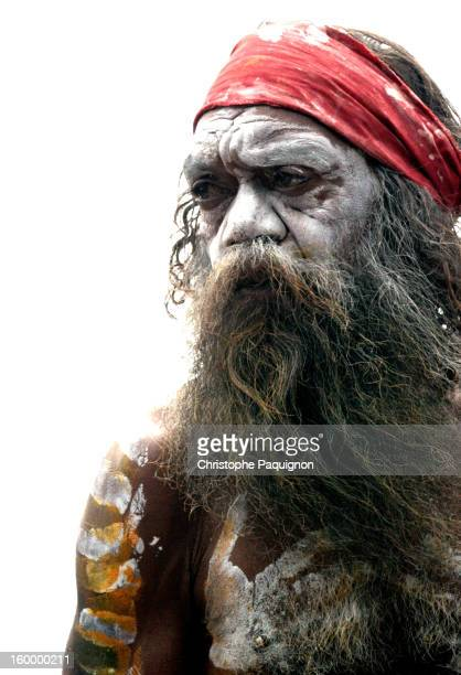 Bearded aborigine portrait on white background - Australia